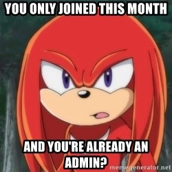 Confused Knuckles - You only joined this month and you're already an admin?