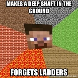 Minecraft Guy - makes a deep shaft in the ground forgets ladders