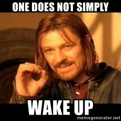 Does not simply walk into mordor Boromir  - One does not simply wake up
