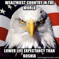American Pride Eagle - wealthiest country in the world lower life expectancy than bosnia