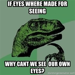 Philosoraptor - if eyes where made for seeing why cant we see  our own eyes?