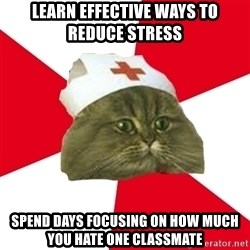 Nursing Student Cat - Learn effective ways to reduce stress spend days focusing on how much you hate one classmate