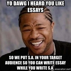 Yo Dawg - Yo dawg I heard You like essays so we put S.A. in your target AUDIENCE so you can write essay while you write S.a.