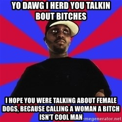 Sensitive Gangsta - yo dawg i herd you talkin bout bitches i hope you were talking about female dogs, because calling a woman a bitch isn't cool man