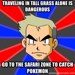 Professor Oak - traveling in tall grass alone is dangerous  go to the safari zone to catch pokemon