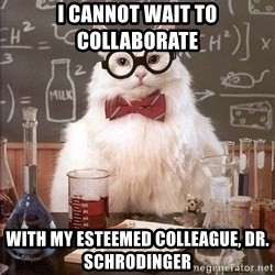 Chemistry Cat - I cannot wait to collaborate  with my esteemed colleague, Dr. Schrodinger