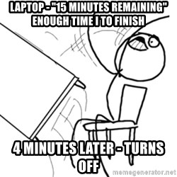 "flip a table2 - laptop - ""15 minutes remaining"" enough time i to finish 4 minutes later - turns off"