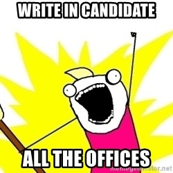 X ALL THE THINGS - Write in candidate all the offices