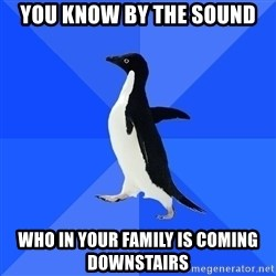 Socially Awkward Penguin - You know by the sound Who in your family is coming downstairs