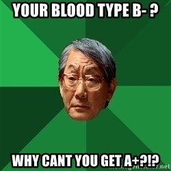 High Expectations Asian Father - your blood type b- ? Why cant you get A+?!?