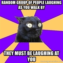 Anxiety Cat - random group of people laughing as you walk by they must be laughing at you