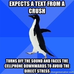 Socially Awkward Penguin - expects a text from a crush turns off the sound and faces the cellphone downwards to avoid the direct stress
