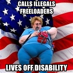 Conservative - CAlls illegals freeloaders lives off disability