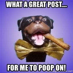 Triumph the Insult Comic Dawg - What a great post.... FOR ME TO poop on!