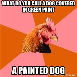 Anti Joke Chicken - what do you call a dog covered in green paint a painted dog