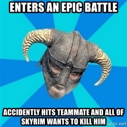 skyrim stan - Enters an epic battle accidently hits teammate and all of skyrim wants to kill him