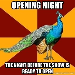 Thespian Peacock - Opening Night the night BEFORE the show is ready to open