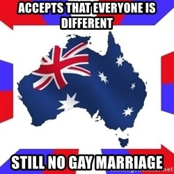 australia - ACCEPTS THAT EVERYONE IS DIFFERENT STILL NO GAY MARRIAGE