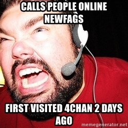 Angry Gamer - calls people online newfags first visited 4chan 2 days ago