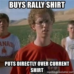 Napoleon Moped Grom - buys rally shirt puts directly over current shirt