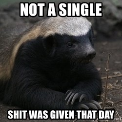 Honey Badger - not a single  shit was given that day
