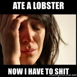 First World Problems - ate a lobster now i have to shit