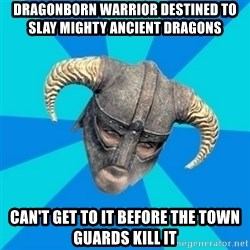 skyrim stan - dragonborn warrior destined to slay mighty ancient dragons can't get to it before the town guards kill it