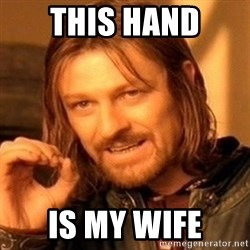 One Does Not Simply - this hand is my wife