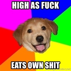 Advice Dog - High as fuck eats own shit