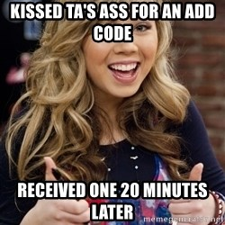 sucess sam puckett - kissed ta's ass for an add code received one 20 minutes later