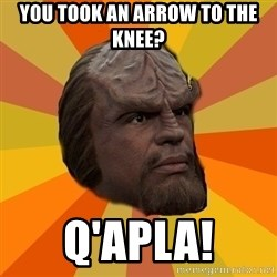 Courage Worf - You took an arrow to the knee? Q'apla!