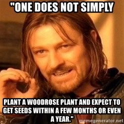 """One Does Not Simply - """"one does not simply PLANT A WOODROSE PLANT AND EXPECT TO GET SEEDS WITHIN A FEW MONTHS OR EVEN A YEAR."""""""