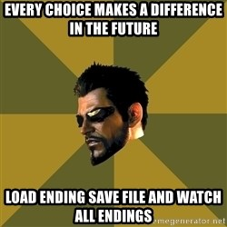 Adam Jensen - every choice makes a difference in the future load ending save file and watch all endings