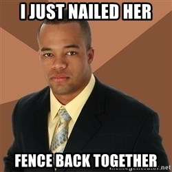 Successful Black Man - I JUST NAILED HER FENCE BACK TOGETHER