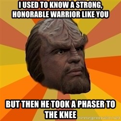 Courage Worf - i used to know a strong, honorable warrior like you but then he took a phaser to the knee