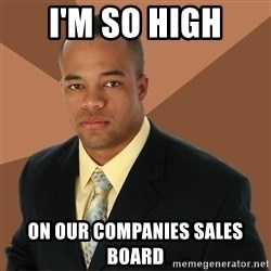 Successful Black Man - i'm so high on our companies sales board