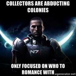 Mass Effect - collectors are abducting colonies only focused on who to romance with