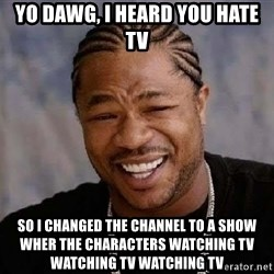 Yo Dawg - yo dawg, i heard you hate tv so i changed the channel to a show wher the characters watching tv watching tv watching tv