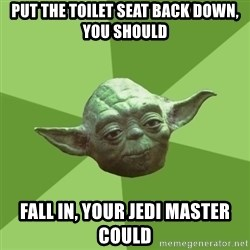 Advice Yoda Gives - put the toilet seat back down, you should fall in, your jedi master could