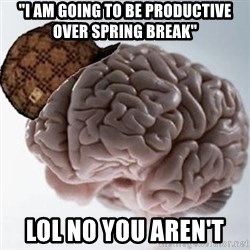 "Scumbag Brain - ""I am going to be productive over spring break"" lol no you aren't"