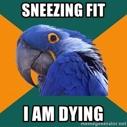 Paranoid Parrot - Sneezing fit I am dying
