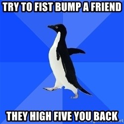 Socially Awkward Penguin - Try to fist bump a friend They high five you back