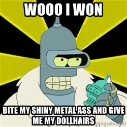 Bender IMHO - wooo i won bite my shiny metal ass and give me my dollhairs