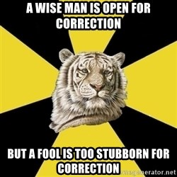 Wise Tiger - A Wise man is open for correction but a fool is too STUBBORN for correction