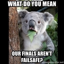 Koala can't believe it - What do you mean our finals aren't failsafe?