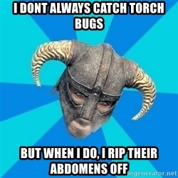 skyrim stan - I dont always CATCH TORCH BUGS but when i do, i rip their abdomens off