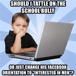 """Programmers son - Should I tattle on the school bully or just change his facebook orientation to """"interested in men""""?"""