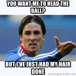 Fernando Torres - You want me to Head the ball? But I've just had mY hair done