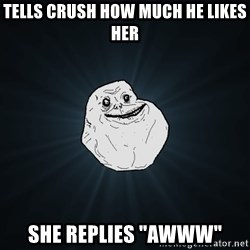 "Forever Alone - Tells crush how much he likes her She replies ""Awww"""