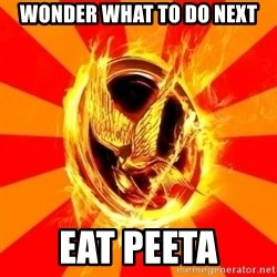 Typical fan of the hunger games - wonder what to do next eat peeta
